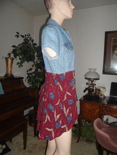 Denim Top with Red and Blue Print Bottom Upcycled Denim Shirt Dress by LandofBridget, $25.00