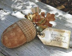 PATTERN Primitive Acorn Ornie Makedo Pincushion Doll UNCUT OOP Crabapple Hill #CrabappleHill