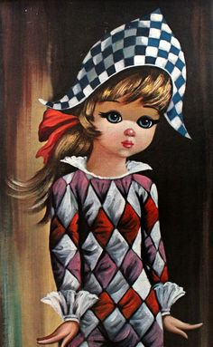 Big Eyed Harlequin Girl in Original frame by SiennaB Retro Kids, Retro Art, Vintage Art, Keane Big Eyes, Margaret Keane, Velvet Painting, Pierrot, Send In The Clowns, Copic Art