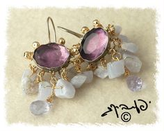 Amethyst and Blue Lace Agate earrings by yifatbareket