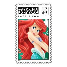 The Little Mermaid Ariel Postage Stamps Disney Princess Ariel, from The Little Mermaid, find Ariel in a fun cute pose with red hair flowing in background. Little Mermaid Cartoon, Little Mermaid Parties, Ariel The Little Mermaid, Gifts For Disney Lovers, Pinturas Disney, Commemorative Stamps, Animated Cartoons, Custom Stamps, Postage Stamps