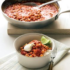 A thick vegetarian stew made from pantry staples, such as rice, spices, and canned chickpeas, is enlivened with a bit of yogurt and lime.