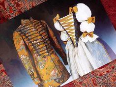 "Hungarian clothing in the past - collection of Museum of Applied Arts. c. 1735, Hungary, gentleman's ""dolmány"" (hussar pellisse) and ladie's ball gown. 1735. From Count Vay and his wife's wardrobe. Gróf Vay család ruhatárából származó dolmány és női díszruha (szoknya és vállfűző)."