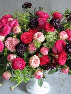 ranunculus, garden roses, and black scabiosa