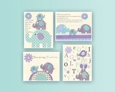 Girl Room Elephant Nursery Decor: Baby Girl Room Decor With Elephant Theme Lavender And Turquoise, Set Of 4 prints Match Brooklyn & Carter