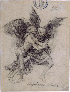 Goya, Se quieren mucho (They Love Each Other Very Much), 1824–28, black crayon on paper, Museo Nacional del Prado
