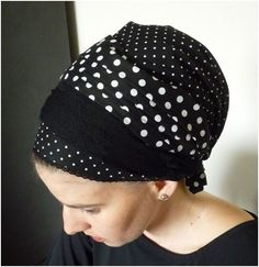 black polka dot $30 by Tamar Landau. sinar apron-shaped headscarf, head scarf, scarf, scarves, tichel, mitpachat, hat, cap, snood, bandana, hair cover, haircover, haircovering, head cover, headcover, headcovering, hijab, modest, modesty, tznius, tzniut