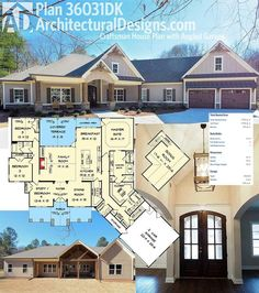 Introducing Architectural Designs House Plan 36031DK comes to life! We love the angled garage and decorative timber accents on the outside and open floor plan with vaulted family room inside.   Loads more pictures inside and out online.  Ready when you are. Where do YOU want to build?