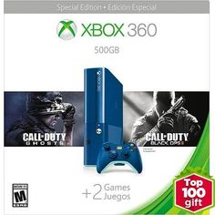Xbox 360 500GB Special Edition Blue Console Bundle with Call of Duty Ghosts and Call of Duty Black Ops 2 - Walmart Exclusive