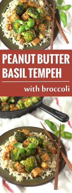 Tempeh cubes are soaked in a garlic and ginger marinade and mixed in with stir fried broccoli, rich peanut sauce and fresh basil leaves.