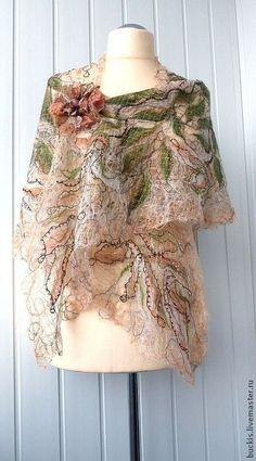 Yellow orange handmade openwork shawl for women. Butterfly Scarf, Nuno Felt Scarf, Textile Fiber Art, Silk Shawl, Floral Scarf, Nuno Felting, Embroidered Lace, Wool Felt, Fabric Design