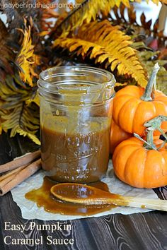 This Easy Pumpkin Caramel Sauce is not just for ice cream.  Use it as a base to make a frosting, add it to your coffee or make a drizzle out of it for cinnamon rolls. #PumpkinWeek