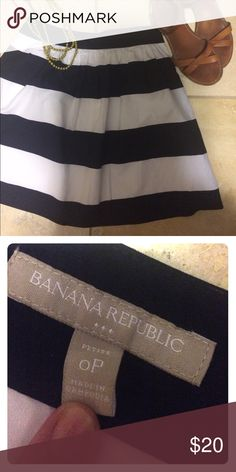 Banana Republic Navy Striped Skirt Summer ready! Navy and white striped skirt from Banana Republic. Smoke and pet free home. Excellent condition! Banana Republic Skirts