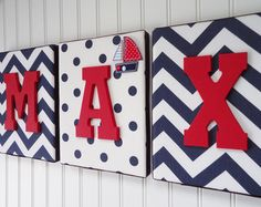 Nursery Letters, Nursery Decor, Upholstered Letters, Personalized, Nursery Art, Navy and White Chevron, Red Letters, Embellishment