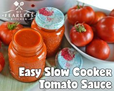 Easy Slow Cooker Tomato Sauce from My Fearless Kitchen. Make the most of your garden-fresh tomatoes with this Easy Slow Cooker Tomato Sauce. Make a few big batches now and freeze it to use all winter long. Tomato Sauce Crockpot, Fresh Tomato Sauce Recipe, Fresh Tomato Recipes, Homemade Tomato Sauce, Tomatoe Sauce, Slow Cooker Spaghetti Sauce, Slow Cooker Pasta, Slow Cooker Recipes, Crockpot Recipes