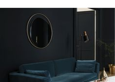 Miroir, grand miroir, miroir rond, anneau, laiton, verre fumé gris, design, miroir design, néo-vintage, fifties, Red Edition