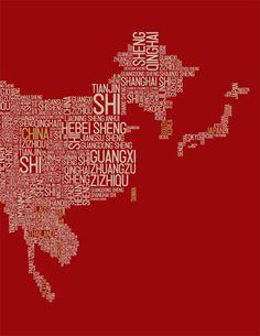 Typographic Map of Asia