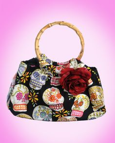 Mis Cositas Handmade Day of the Dead Tote with Bamboo Handle