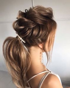 90 easy hairstyles for naturally curly hair - Hairstyles Trends Ponytail Hairstyles, Bride Hairstyles, Hairstyle Ideas, Perfect Hairstyle, Hairstyles For Long Hair Wedding, Engagement Hairstyles, Hairstyle Wedding, Chic Hairstyles, Medium Hair Styles
