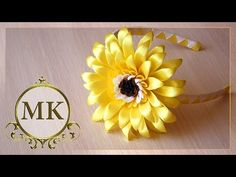 Цветок Гербер Канзаши Мастер-класс / Gerber flower Kanzashi Master class - YouTube