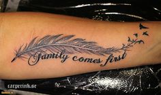 Love without fear - Federtattoos - Tattoo Frauen Feather With Birds Tattoo, Feather Tattoo Design, Feather Tattoos, Cover Up Tattoos, Body Art Tattoos, Small Tattoos, Tatoos, Tattoo Plume, Meaningful Tattoos For Family