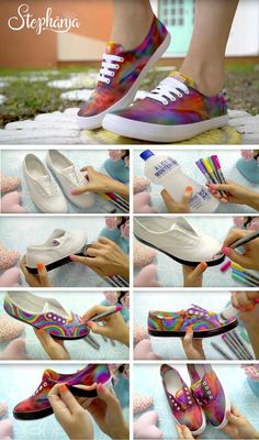 Creating DIY Fashion Trends – Designer Fashion Tips How To Dye Shoes, How To Tie Dye, Diy Tie Dye Shoes, Diy Clothes And Shoes, Diy Clothes Videos, Diy Clothes Refashion, Diy Clothing, Shoe Refashion, Clothes Refashion