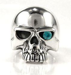 Blue Topaz Skull Ring