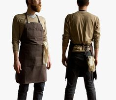 If I ever break down and get an apron this might be the one, minus the super hipster bearded dude. Cafe Uniform, Shop Apron, Staff Uniforms, Hipster Beard, Work Aprons, Sewing Aprons, Good Looking Men, Black And Grey, How To Look Better