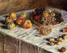/\ /\ . Still Life with Apples and Grapes . Claude Monet . 1880