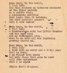 Typewriter Series #? by Tyler Knott Gregson.