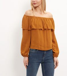 e327ccf8a185f Mustard Frill Bardot Neck Long Sleeve Top
