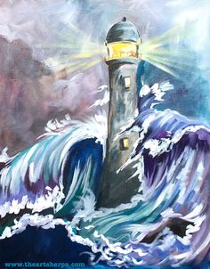 The Story of the Rock a Light house in a stormy sea full painting tutorial The Art Sherpa. Acrylic painting on canvas Step by step