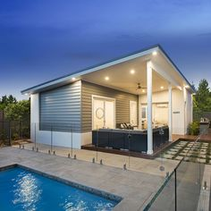 Built in conjunction with your new home, we've designed our range to complement your main home and provide a lifestyle everyone will love. Tiny Homes, New Homes, L Shaped House Plans, Mcdonald Jones Homes, Granny Flat, Flat Ideas, Clever Design, Pool Houses, Flat Design