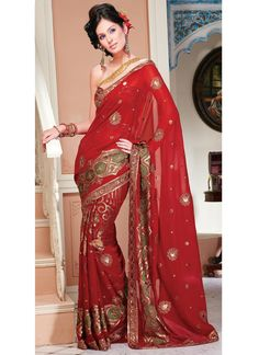 Red Colored Patti Work Saree  Check out this page now :-http://www.ethnicwholesaler.com/sarees-saris