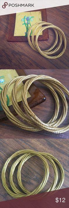 "GOLDE GRASS Bangle Bracelets (thin) Golden grass bangle bracelets set of 3. Handcrafted in Brazil. 2.5"" diameter and 0.5"" wide. Jewelry Bracelets"