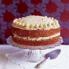 Mocha and hazelnut cake recipe. As children, nothing made our hearts sink more than coffee cake: it was a cake for grown-ups. But now we're converts.