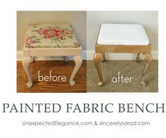 Check out how she has been transforming all the outdated fabric in her home. Here are a few more of our video tutorials: Episode Welcome Episode Mixing Chalk Paint Episode Prep Work for Chalk Paint Episode 7 Tips for … Diy Projects On A Budget, Home Projects, Fabric Painting, Painting On Wood, Furniture Fix, Annie Sloan Chalk Paint, Paint Cans, Decorating On A Budget, Bench