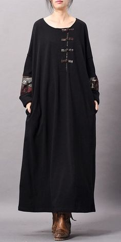 Black Vintage Cotton Maxi Dresses Women Loose Clothes – Linen Dresses For Women Linen Dresses, Women's Dresses, Vintage Dresses, Fashion Dresses, Cotton Dresses, Loose Dresses, Casual Dresses, Muslim Fashion, Boho Fashion