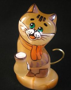 #Selenite #figurine The #cat with the #pot of #sour #cream in the #scarf and #boots #Animals, #Cats