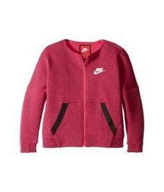 Nike Kids Tech Fleece Full Zip (Little Kids) (Vivid Pink Heather) Girl's Clothing