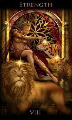 Legacy of the Divine Tarot / Gateway to the Divine Tarot by Ciro Marchetti - Strength Tarot Cards Major Arcana, Strength Tarot, Divine Tarot, Tarot Spreads, Oracle Cards, Tarot Decks, Fantasy Art, Lion Sculpture, Joker