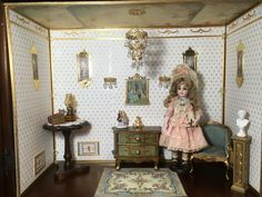 """French Room Box for doll display. The interior measures 25 1/2"""" w x 20 H x 10 1/2"""" D"""