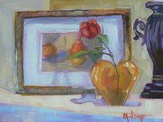 "Contemporary Artists of North Carolina: Painting on Sale, Small oil Painting, ""The Mantle"" by Carol Schiff, 6x8"" Oil"