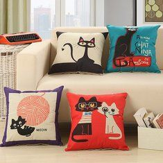 Favorable SOFO Cute Cat Cotton Linen Cushion Cover Cartoon Throw Pillow Case Home Decor - NewChic Mobile
