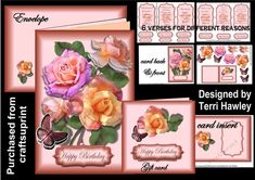 This is a beautiful 3D kit that can be used for so many reasons.has a full card, front back insert, small gift cards, envelope, and 6 different verses and labels for different reasons.  Happy Birthday, Get Well Soon, Here For You, We are So Proud.Happy mothers Day, and With Deepest Sympathy.  Very Easy To Make, Dress up or us asis.