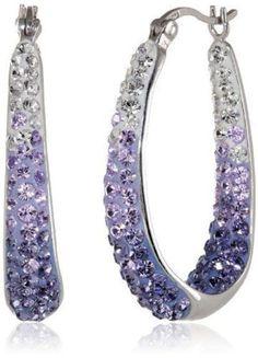 Carnevale Sterling Silver Hoop Earrings Swarovski Crystals Purple Jewelry Women | eBay