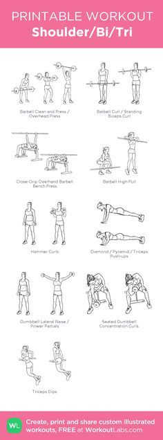 Shoulder/Bi/Tri:my visual workout created at WorkoutLabs.com • Click through to customize and download as a FREE PDF! #customworkout