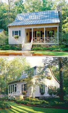 Hunting Creek Cabin, front & back (Southern Living house plan ~ floor floor total bdrms, baths. A larger version of the Deer Run Cabin. Cheap House Plans, Cheap Houses To Build, Metal House Plans, Cabin House Plans, Tiny House Cabin, Modern House Plans, Cabin Homes, Small House Plans, Cottage Homes