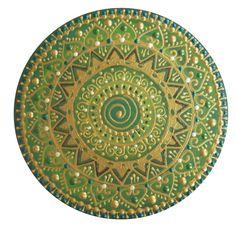Zöld-arany Spirál mandala / Green-gold Spiral mandala ♥