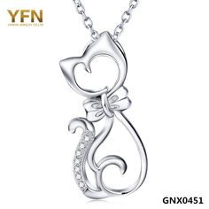 YFN Fashion Jewelry 925 Sterling Silver Cat Necklace with Bowknot Wholesale Crystal Pendant Necklace Gifts For Women GNX0451